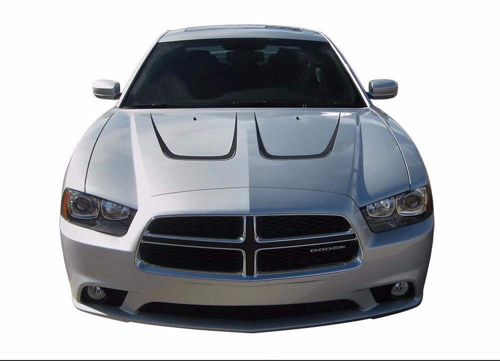 2011-2014 Dodge Charger Scallop Hood Mopar Style Vinyl Graphics 3M Stripes Decals