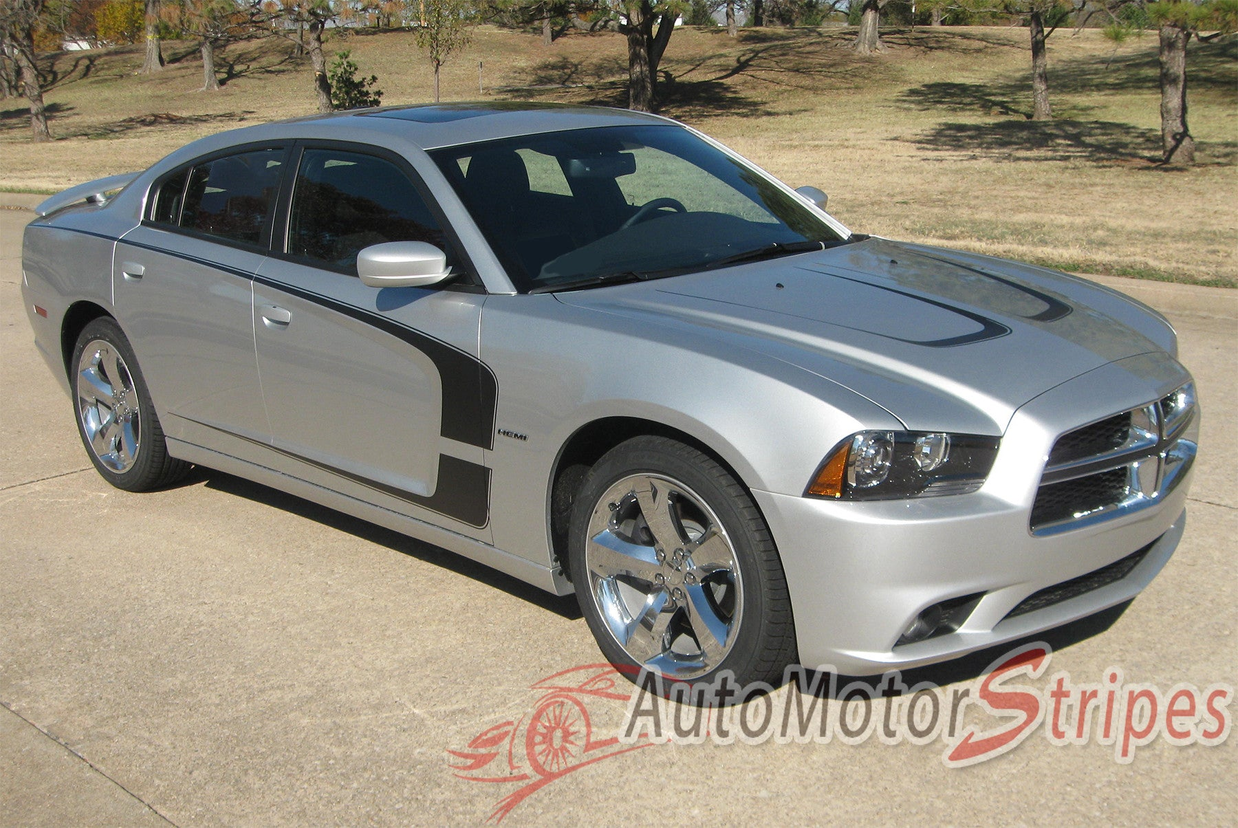 2011 2014 Dodge Charger Hood Stripes Scallop Decals Vinyl