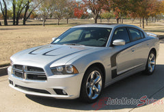 2011-2014 Dodge Charger C-Stripe Mopar Style Vinyl Graphic Racing Stripes - Matte Black on Silver Full View