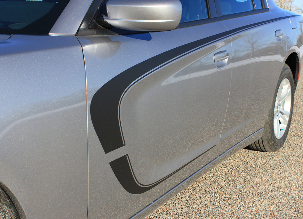 2015-2021 Dodge Charger C-Stripe Combo Hood and Door Sides Mopar Style Vinyl Graphics Stripes 3M Kit