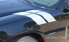 2011-2014 Dodge Charger Hash Marks Double Bar Mopar Style Hood Vinyl Graphics - Silver Metallic on Black Hood View