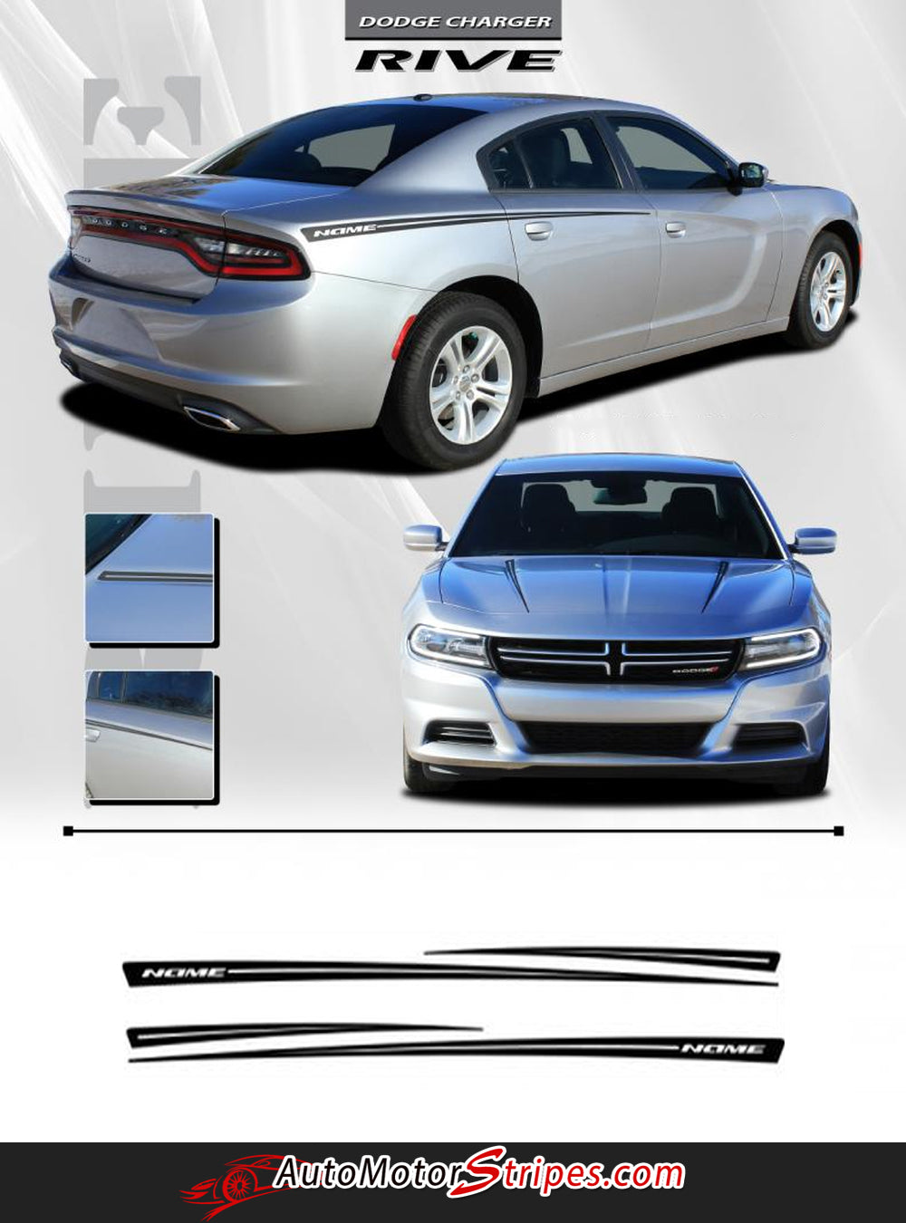 2015 2019 Dodge Charger Stripes Rive Hood Spear Decals