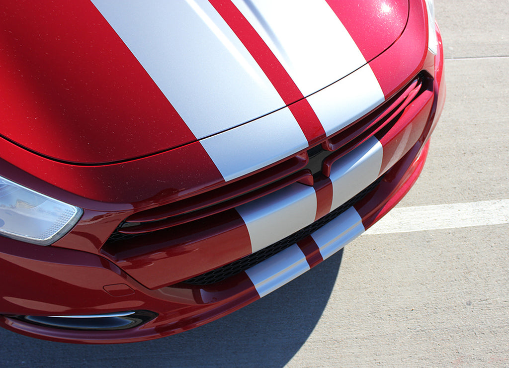 2013-2016 Dodge Dart Rally Mopar Style Dual Hood Racing Stripes Vinyl Graphics 3M Striping