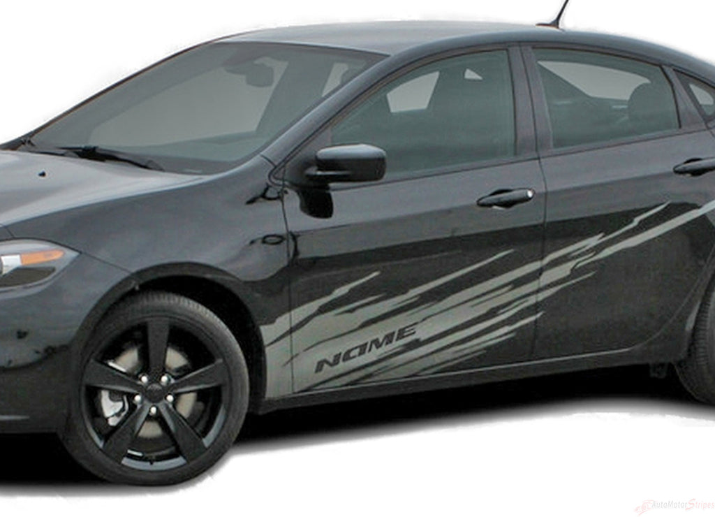 2013-2016 Dodge Dart Ripped Side Lower Body Door Rocker Panel Vinyl Graphics 3M Striping