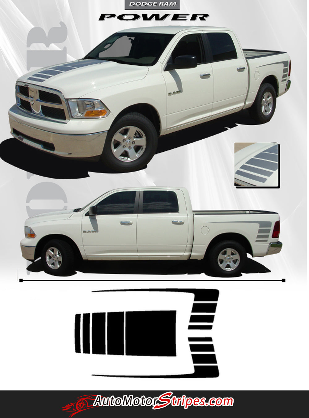 2009 2018 Dodge Ram Power Wagon Decals Hood Side Strobes 1500 2017 Truck And Rear Bed Vinyl