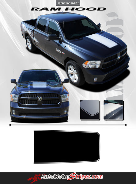 2009-2018 Dodge Ram Truck Hood Blackout Solid Center Accent Vinyl Grap | Auto Motor Stripes ...