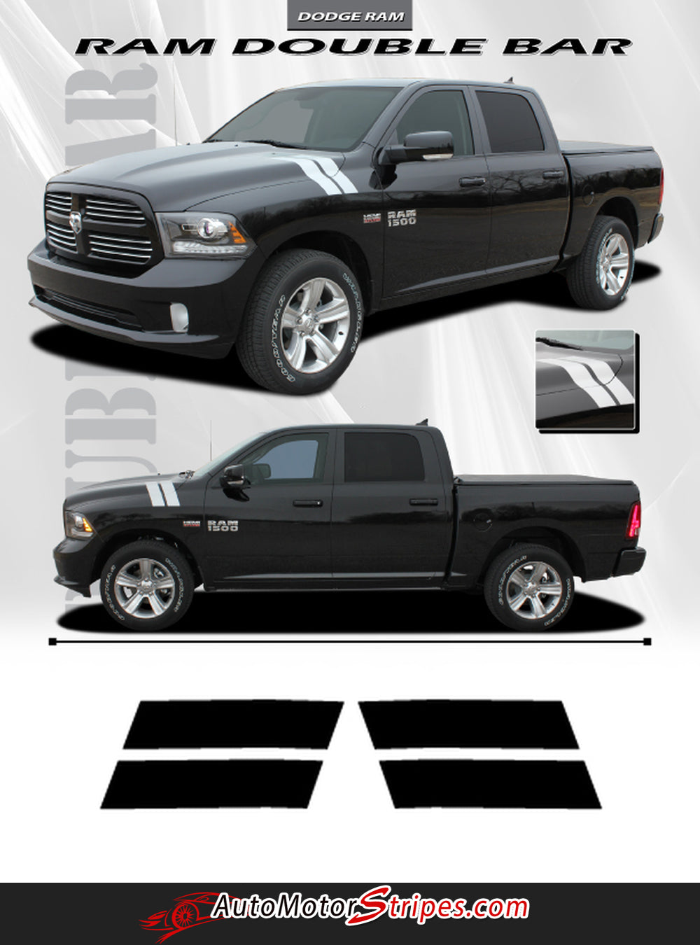 2009 2018 Dodge Ram Hood Stripes Hash Marks Double Bar