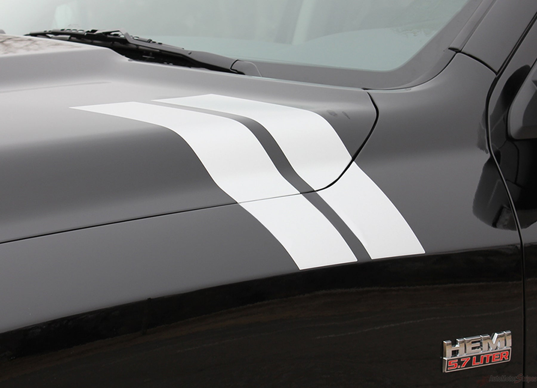 2009 2018 Dodge Ram Hood Stripes Hash Marks Double Bar Truck Decals Auto Motor Stripes Decals Vinyl Graphics And 3m Striping Kits