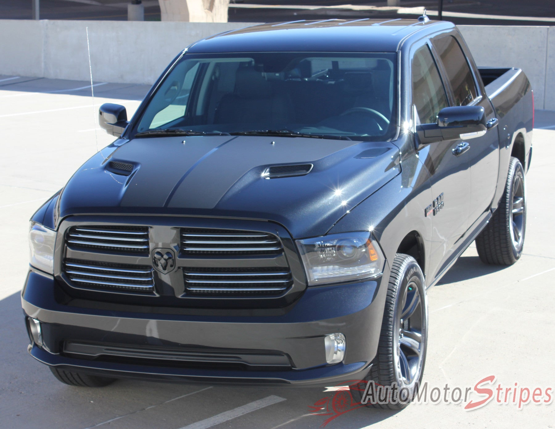 2009 2017 dodge ram hemi hood blackout accent solid center. Black Bedroom Furniture Sets. Home Design Ideas