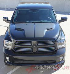 2009-2018 Dodge Ram Hemi Hood Blackout Accent Solid Center Winged Vinyl Graphic Truck - Front View Matte Black on Gloss Black Paint