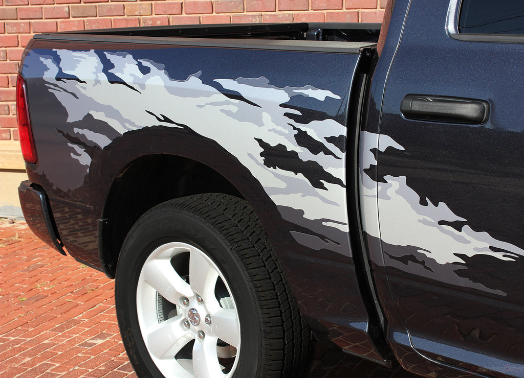 2009-2018 Dodge Ram Rage Multi Color Digital Print or Solid Color Side Bed Tailgate Truck Power Wagon Vinyl Graphic 3M Stripe Package