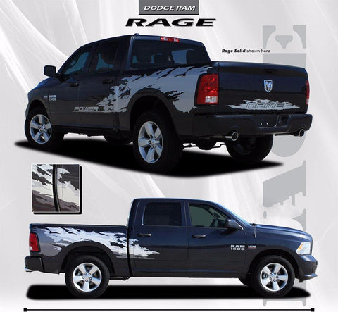 2009-2017 Dodge Ram Rage Multi Color Digital Print or Solid Color Side Bed Tailgate Truck Power Wagon Vinyl Graphic - Digital Print Silver Gray Charcoal Colors