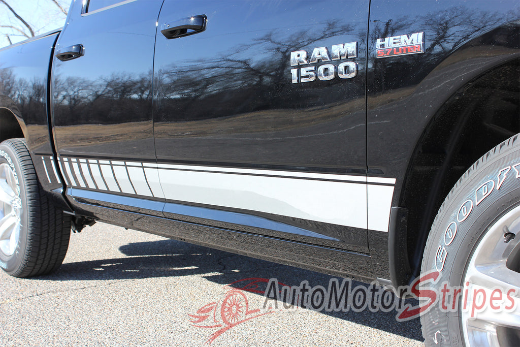 2009-2017 Dodge Ram Rocker Strobes Lower Door Truck Side Vinyl Graphic 3M Stripe Package