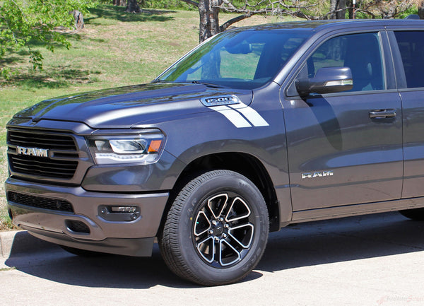 2019 2020 Dodge Ram Hood Stripes Hash Marks Double Bar Truck Decals | Auto Motor Stripes Decals ...
