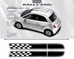 2007-2016 Fiat 500 Checkered Rally Hood Roof Racing Stripes Vinyl Graphic 3M Decal Kit