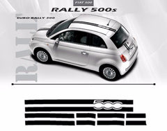 2007-2016 Fiat 500 Euro Rally Hood Roof Trunk Racing Stripes Vinyl Graphic 3M Decals Kit
