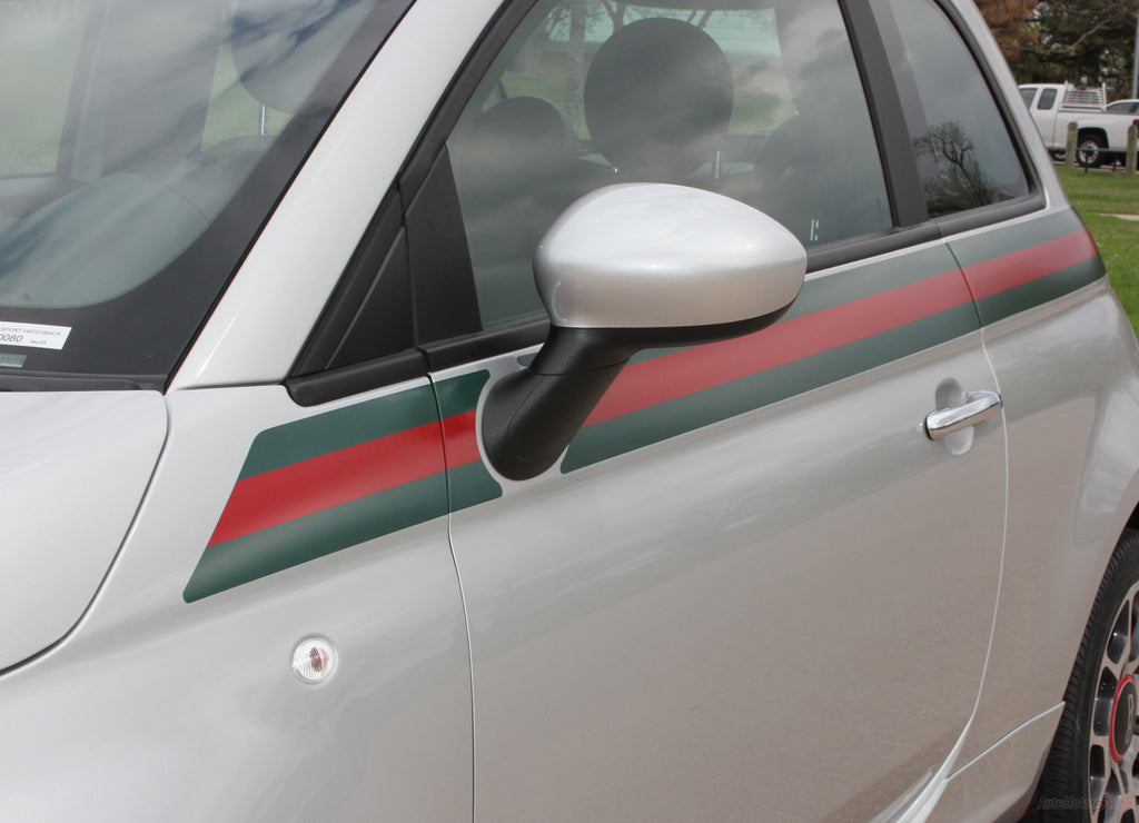 2007-2016 Fiat 500 Italian Gucci Red Green Flag Upper Door Accent Stripes Vinyl Graphic Kit