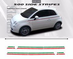 2007-2016 Fiat 500 Italian Side Accent Red and Green Door Stripes Vinyl Graphic Kit