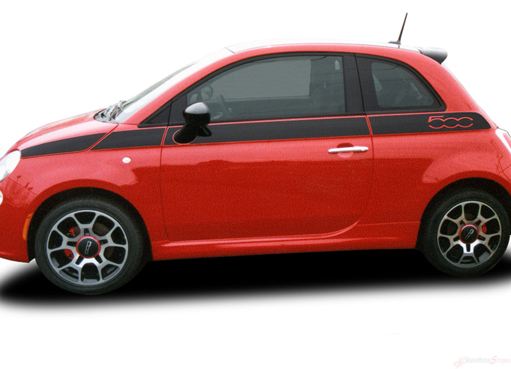 2007-2016 Fiat 500 SE5 Factory Style Upper Side Door Stripes Vinyl Graphic Kit