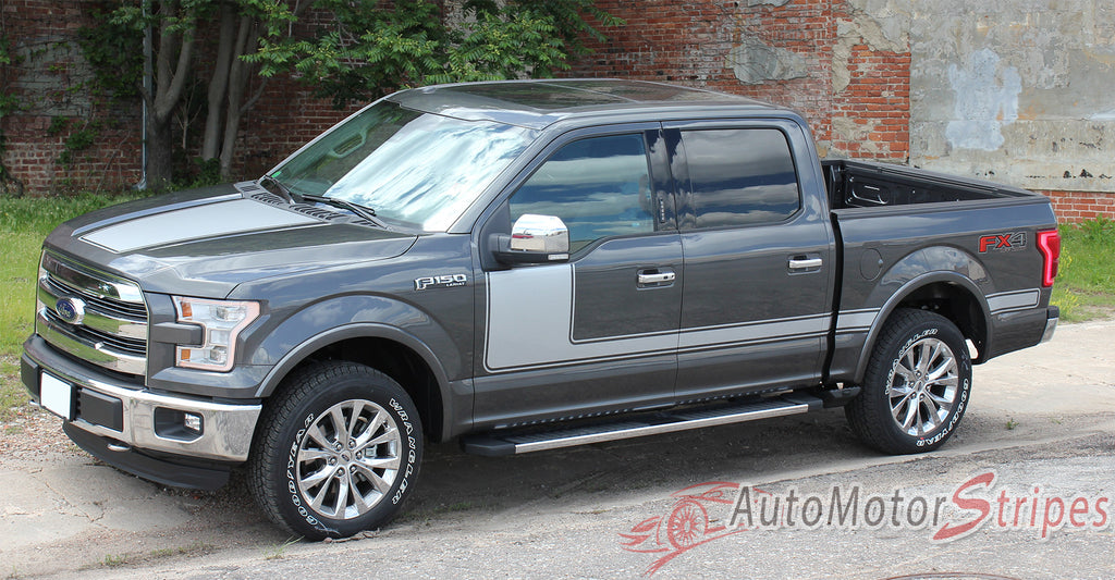 2009 - 2014 and 2015 - 2017 Ford F-150 Force 1 One Factory Style Hockey Stick Side Vinyl Decal Graphic 3M Stripes