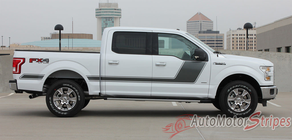 2009 - 2014 and 2015 - 2017 Ford F-150 Force 2 Two Factory Style Hockey Stick Side Vinyl Decal Graphic Stripes