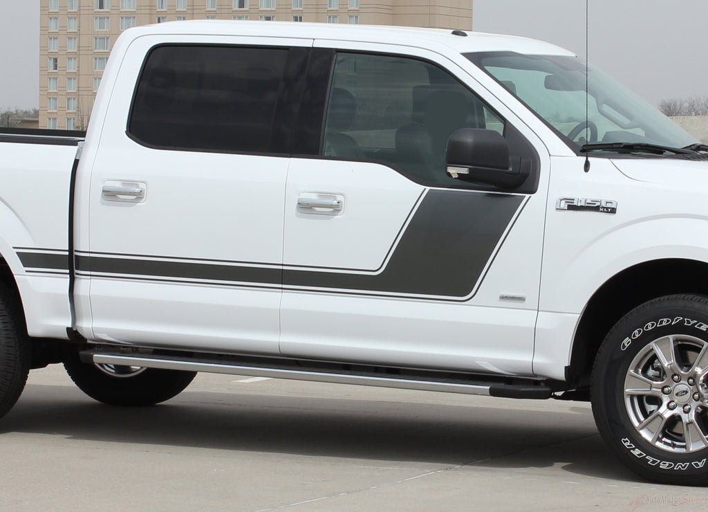 2009 - 2014 and 2015 - 2018 Ford F-150 Force 2 Two Factory Style Hockey Stick Side Vinyl Decal Graphic Stripes