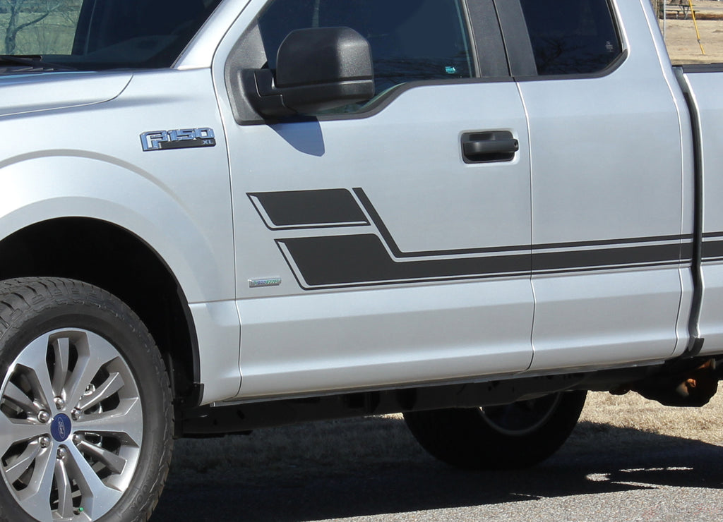 2015-2019 Ford F-150 Eliminator Side Door Panel Hockey Stick Style Vinyl Graphics Decals 3M Stripes Kit
