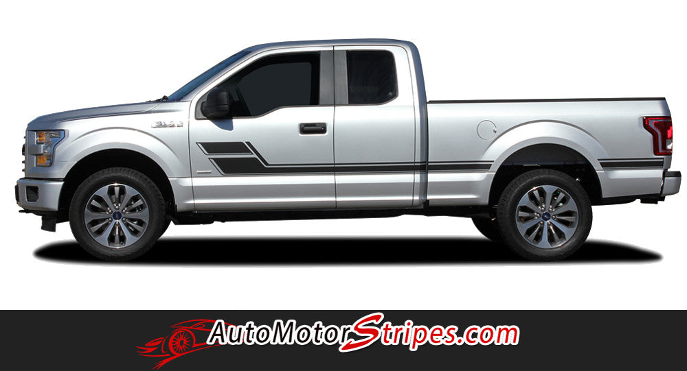 2015-2017 Ford F-150 Eliminator Side Door Panel Hockey Stick Style Vinyl Graphics Decals 3M Stripes Kit