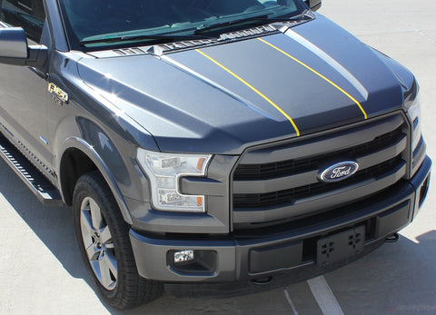 2015 2016 2017 2018 2019 Ford F-150 Borderline Center Racing Stripe w/ Outline Vinyl Decal Graphic 3M Stripes