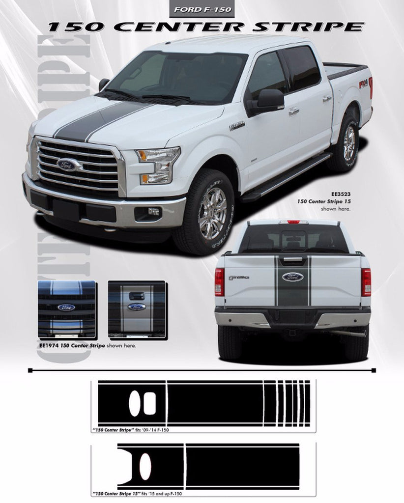 2009 - 2014 Ford F-150 Center Stripe Factory Style Vinyl Decal 3M Graphic Stripes