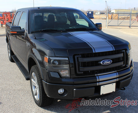 2009 - 2014 Ford F-150 Center Stripe Factory Style Vinyl Decal - Front Hood View with Silver Metallic on Black Paint