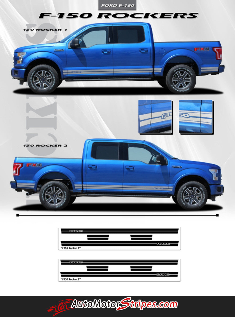 2015 2019 ford f 150 rocker one lower rocker stripes vinyl decal 3m graphics