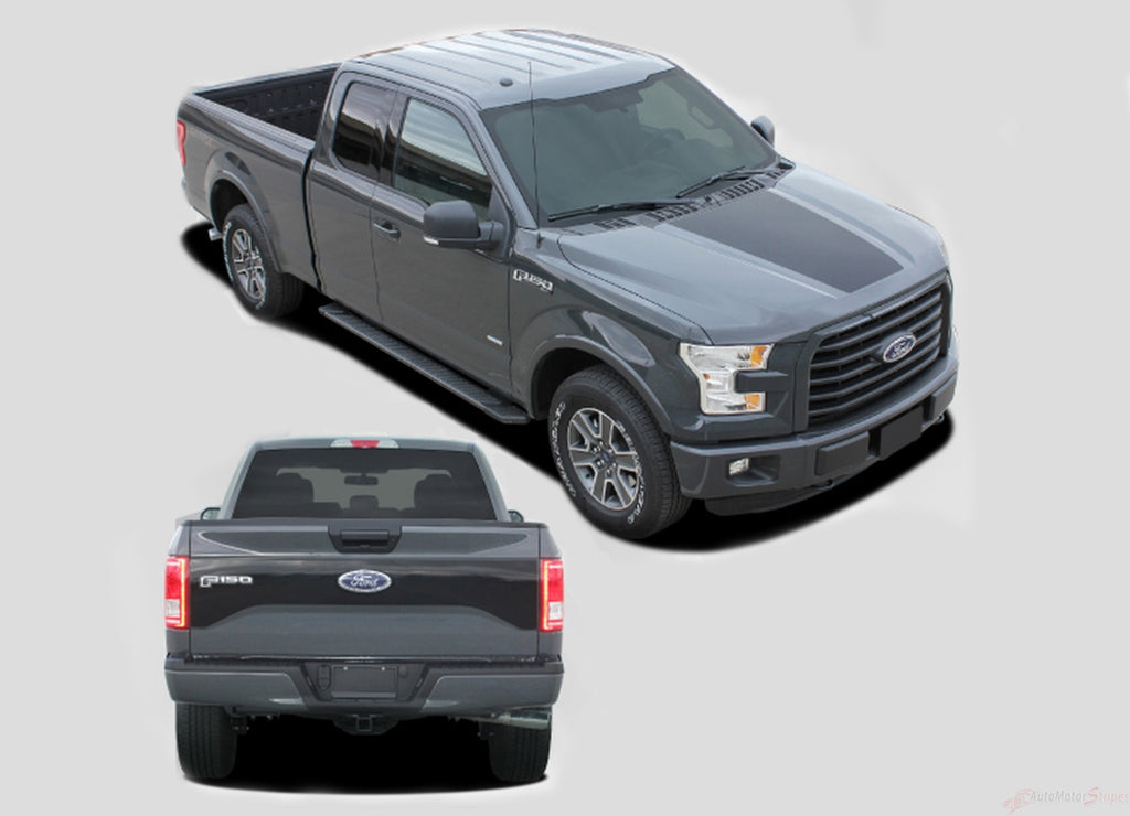 2015-2017 Ford F-150 Route Hood and Tailgate Blackout Vinyl Decal 3M Graphic Stripes