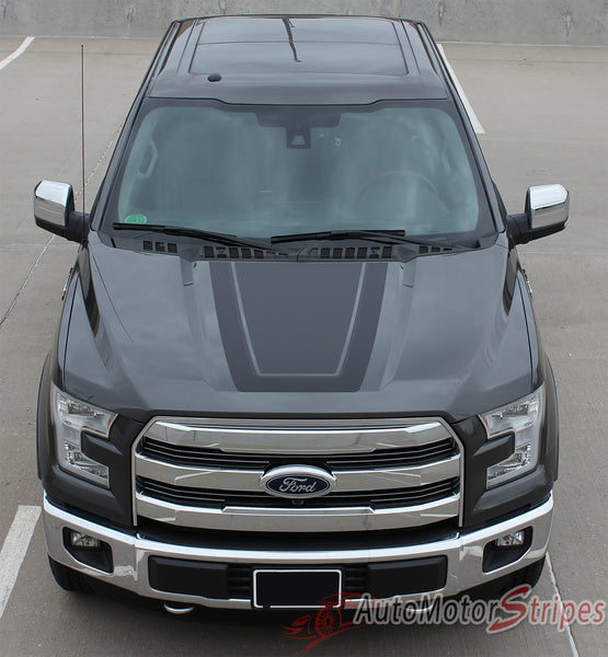 2015-2018 Ford F-150 Hood Stripes QUAKE Vinyl Graphic ...