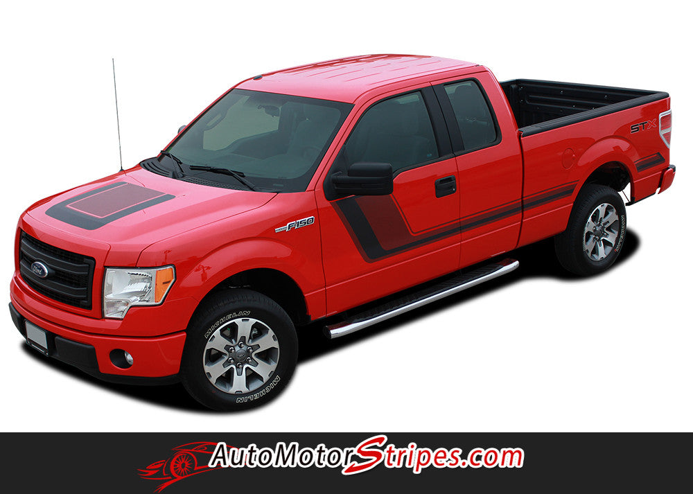2009 - 2014 and 2015 - 2017 Ford F-150 Quake Hood and Sides Combo Factory Tremor FX Style Hockey Stick Side Vinyl Decal Graphic Stripes