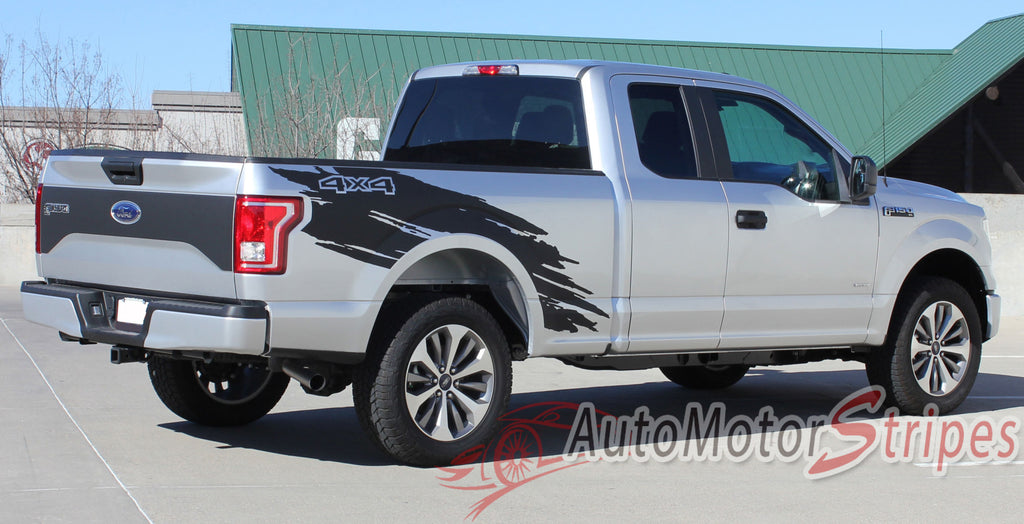 2015-2017 Ford F-150 Torn Truck Bed Mudslinger Style Side Vinyl Graphic Decals 3M Stripes Kit