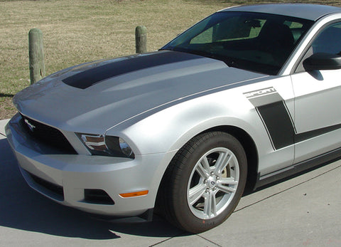 2010 - 2012 Ford Mustang Launch Style Side Hockey Stripes 3M Vinyl Decal Graphics Package