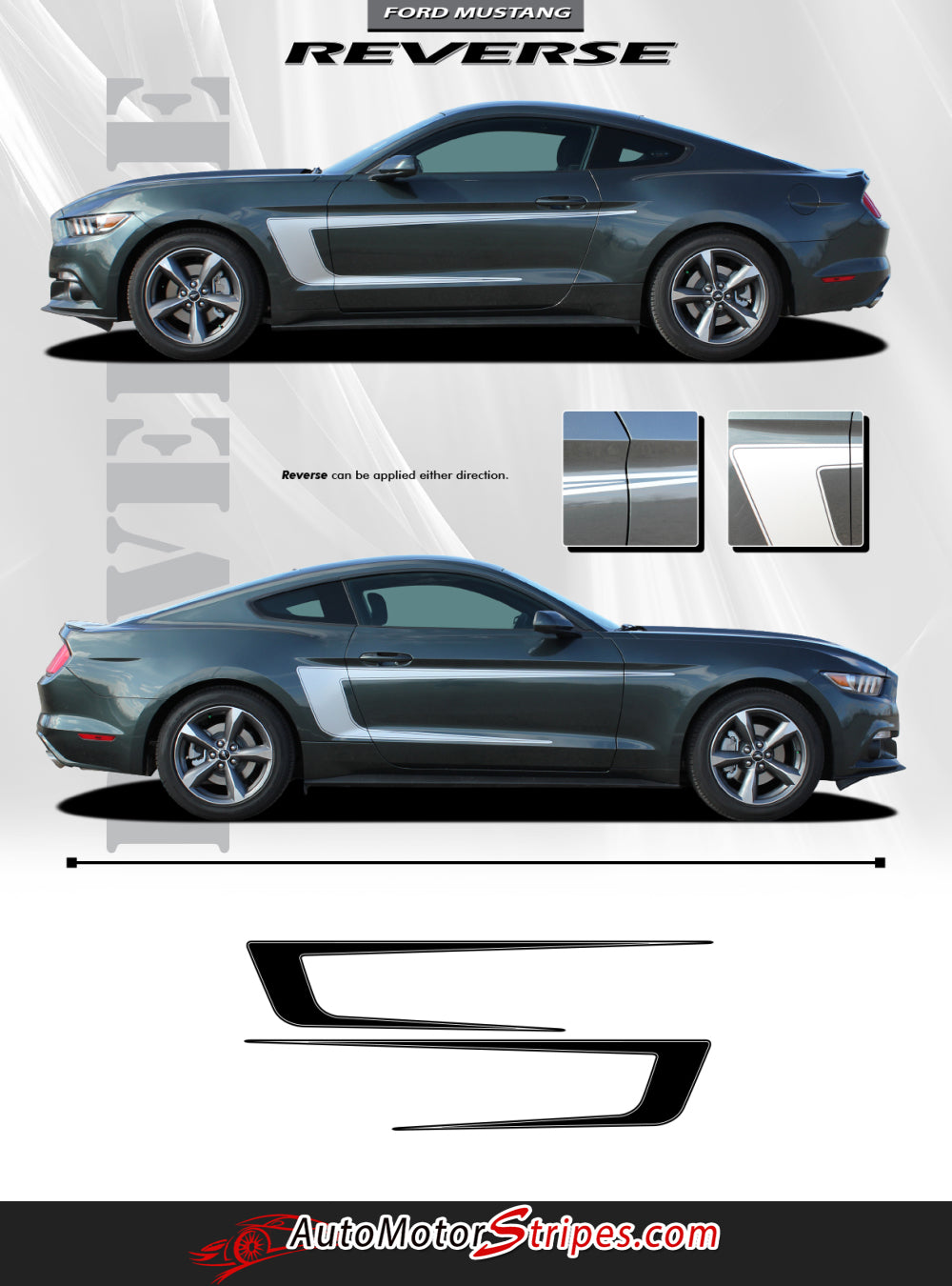 2015 2017 Ford Mustang Stripes Side Door Decals Reverse