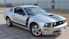 2005 - 2009 Ford Mustang Fastback 2 Side and Hood Boss Style Vinyl Decal Graphics - Side View