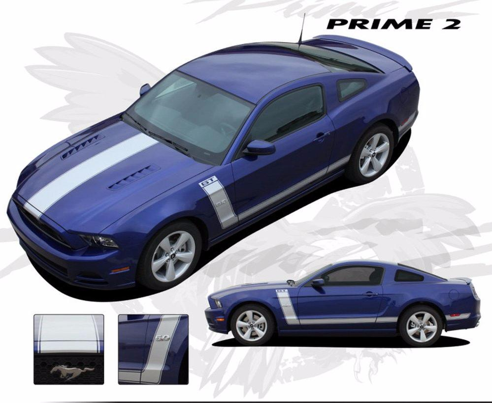 2013 2014 Ford Mustang Prime 2 Boss Style Vinyl Decal Graphics 3M Hood and Sides