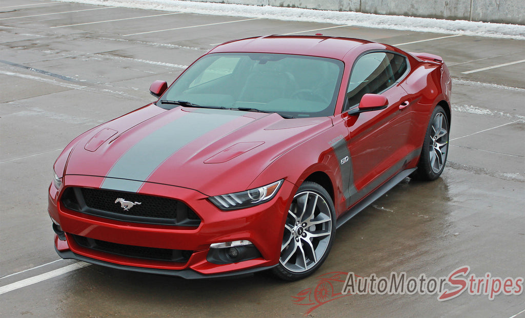 2015-2017 Ford Mustang Stellar Boss 302 Factory OEM Style Hood and Side Stripes Vinyl Graphics 3M Decals