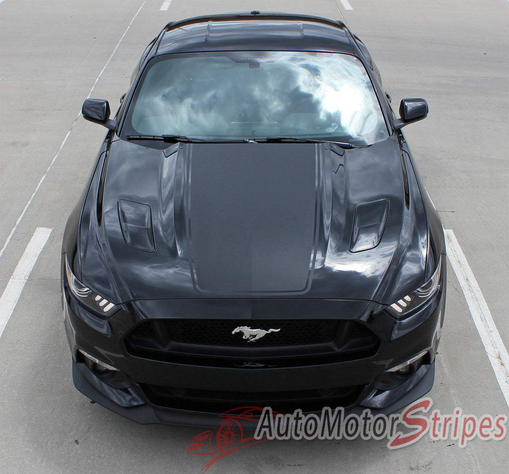 2015-2017 Ford Mustang Super Snake Mega Hood Mohawk Center Wide Racing Rally Stripes Vinyl Graphics 3M Decal
