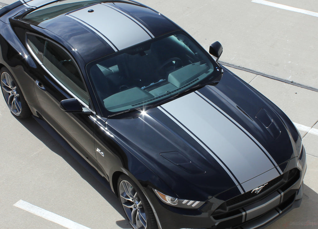2015-2017 Ford Mustang Super Snake Contender Wide Racing Rally Stripes Mohawk Center Hood Vinyl Graphics 3M Decal