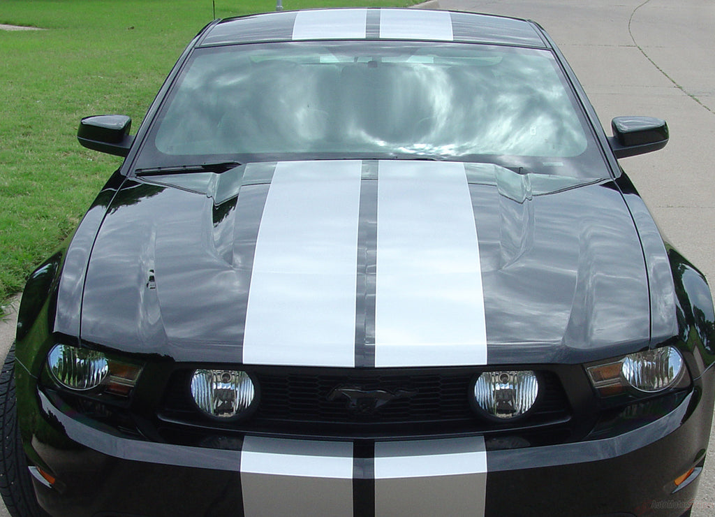 "2010 - 2012 Ford Mustang Stampede Factory OEM Style Lemans 10"" Racing Rally Stripes Vinyl Graphics 3M Decals"
