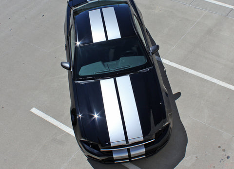 2013 2014 Ford Mustang Thunder Lemans Sryle 10 Inch Racing Rally Stripes Vinyl Graphics 3M Decals