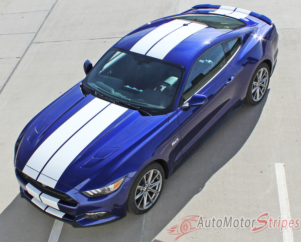 "2015-2017 Ford Mustang Stallion 10"" Wide Lemans Factory Style Racing Rally Stripes Vinyl Graphics 3M Decals"