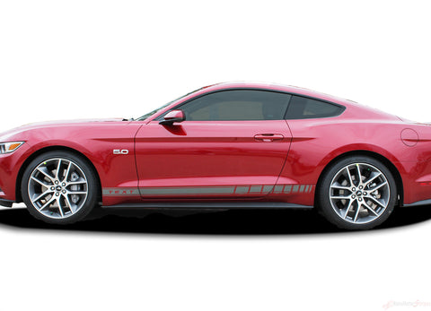 2015 2016 2017 Ford Mustang Stallion Rocker 2 Factory OEM Style Lower Strobe Rocker Stripes Vinyl Graphics 3M Decals