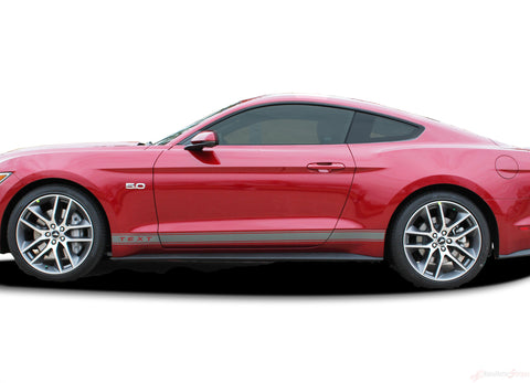 "2015 2016 2017 Ford Mustang ""STALLION ROCKER ONE"" Factory OEM Style Lower Rocker Stripes Vinyl Decal Graphics"
