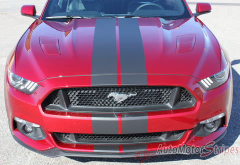 "2015 2016 2017 Ford Mustang Stallion Slim 7"" Inch Wide Racing and Rally Stripes Vinyl Graphics - Hood View"