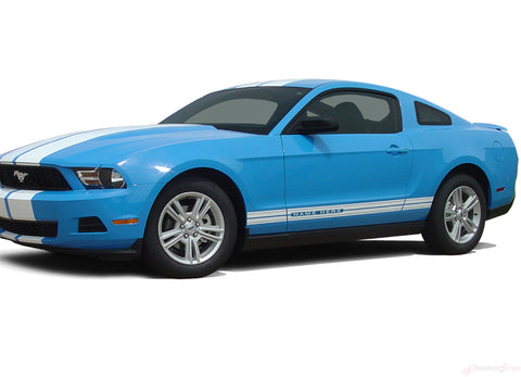 2010 - 2012 Ford Mustang Stampede Rocker Factory OEM Style Lower Rocker Stripes 3M Vinyl Graphics Decal
